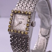 blancpain vintage lady cocktail watch white gold and diamonds and yellow stones 1