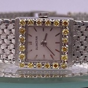 blancpain vintage lady cocktail watch white gold and diamonds and yellow stones 2