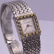 blancpain vintage lady cocktail watch white gold and diamonds and yellow stones 4