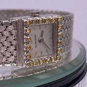 blancpain vintage lady cocktail watch white gold and diamonds and yellow stones 5