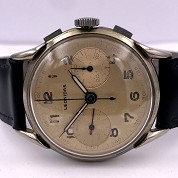 leonidas heuer vintage chronograph l48 big size nice black and cream patina 6