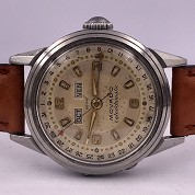 movado vintage 1960 calendomatic triple date steel ref 4456 screwed back 1